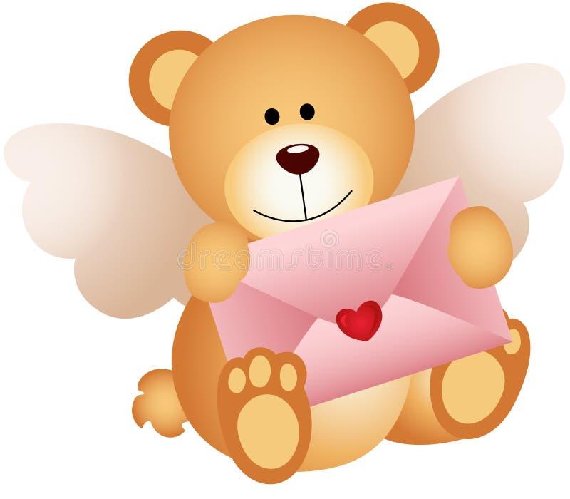 Urso de peluche do cupido com envelope do amor ilustração do vetor