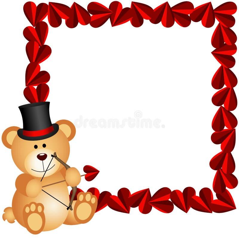 Urso de peluche do cupido com quadro do coração ilustração do vetor