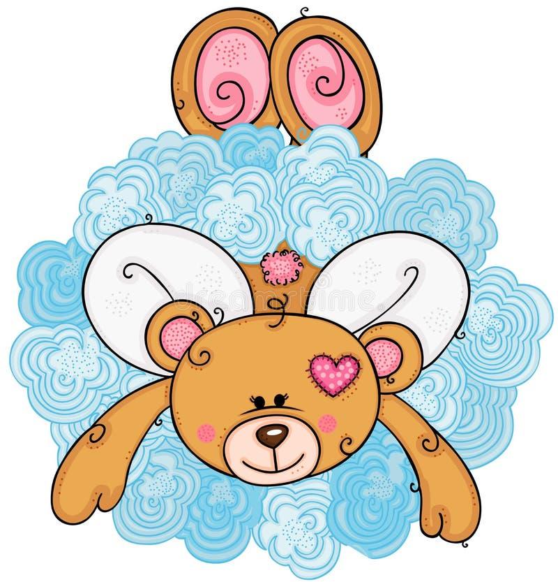Urso de peluche do cupido no meio da nuvem ilustração royalty free
