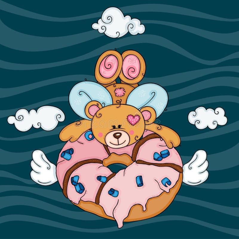 Urso de peluche do cupido que voa guardando uma filhós cor-de-rosa com asas ilustração royalty free