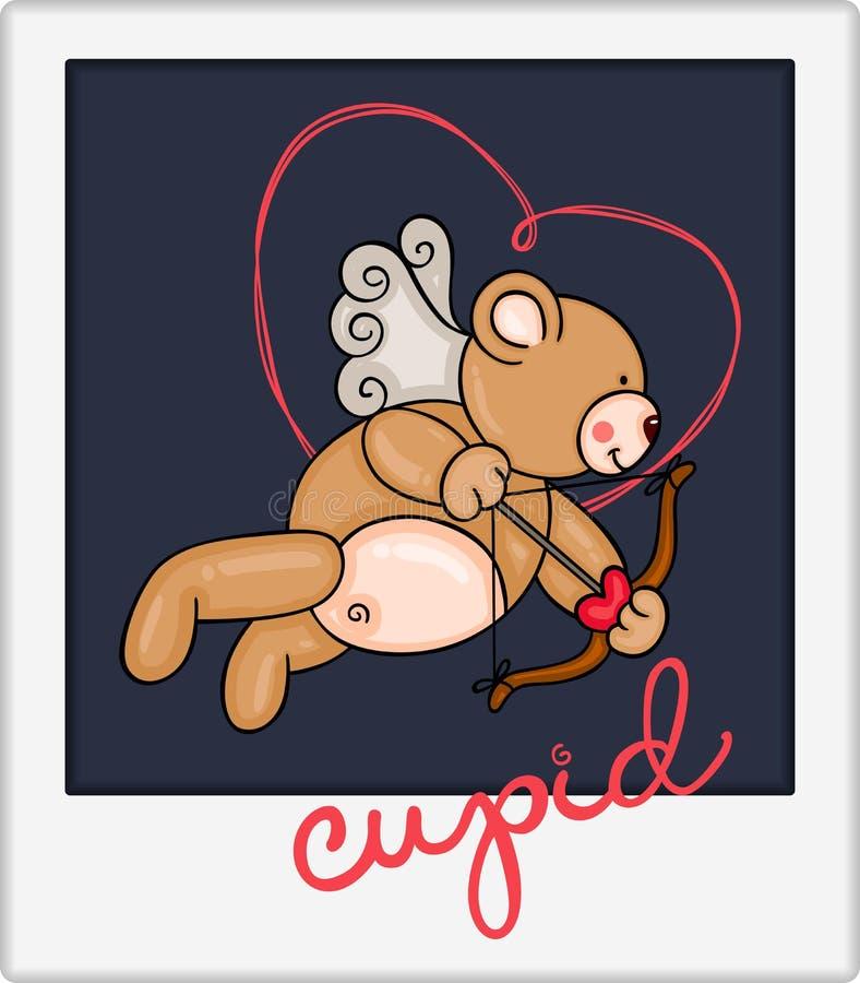 Urso de peluche do cupido do Valentim ilustração stock