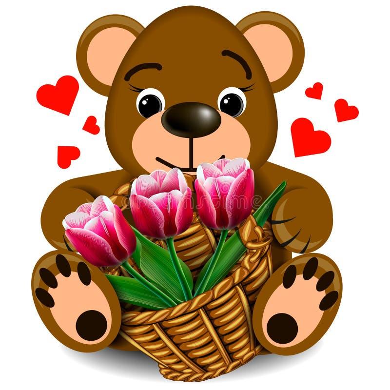 Urso de peluche do luxuoso com a cesta das tulipas ilustração do vetor