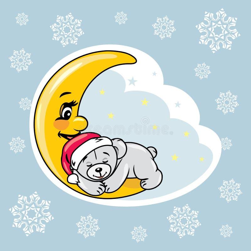 Urso de peluche do sono na lua Projeto do álbum de recortes do Natal ilustração royalty free