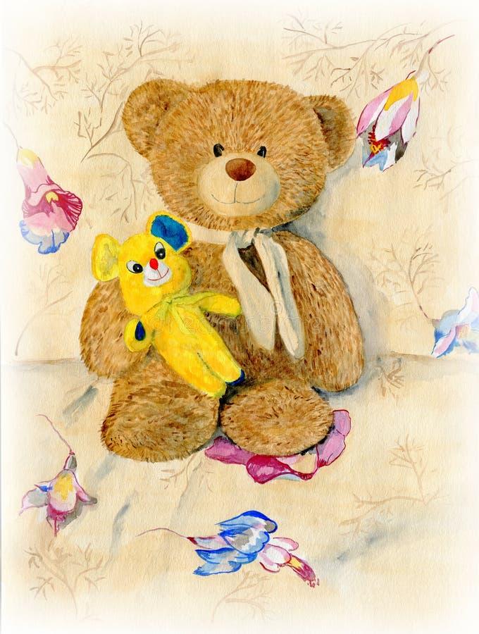 Urso de peluche dois bonito ilustração do vetor