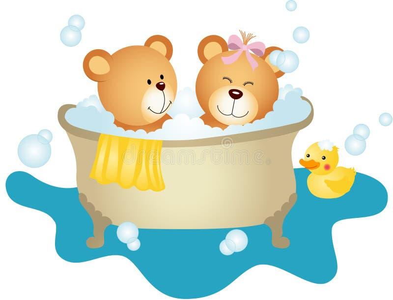 Urso de peluche dos pares que toma um banho ilustração do vetor