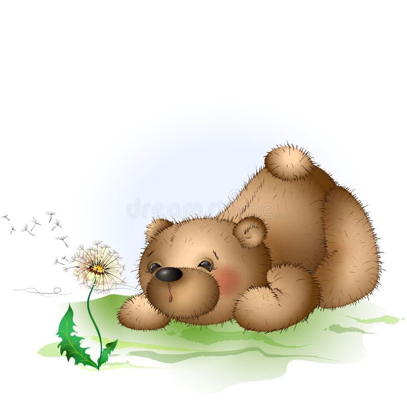 Urso de peluche e dente-de-leão 2 ilustração do vetor