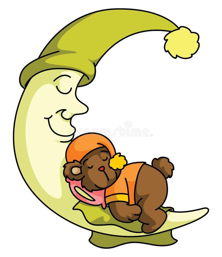 Urso de peluche e sono da lua ilustração stock