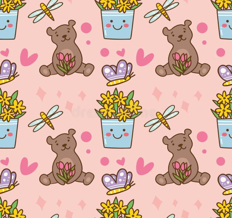 Urso de peluche e teste padrão sem emenda da flor ilustração royalty free