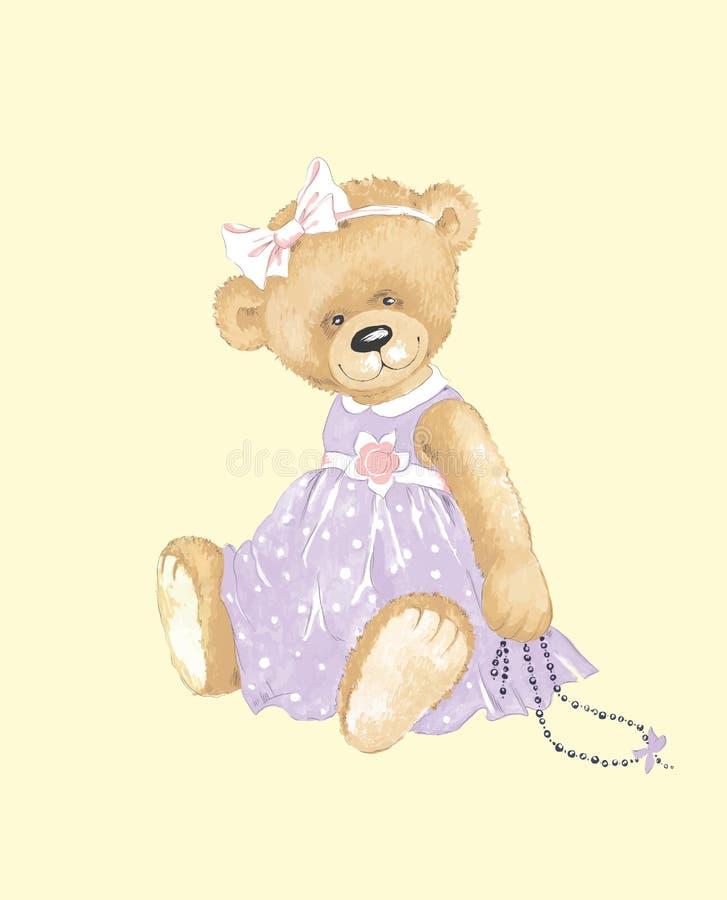 Urso de peluche elegante. ilustração stock