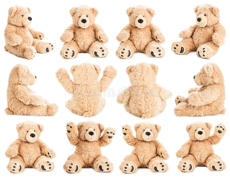 Urso de peluche em posições diferentes imagens de stock