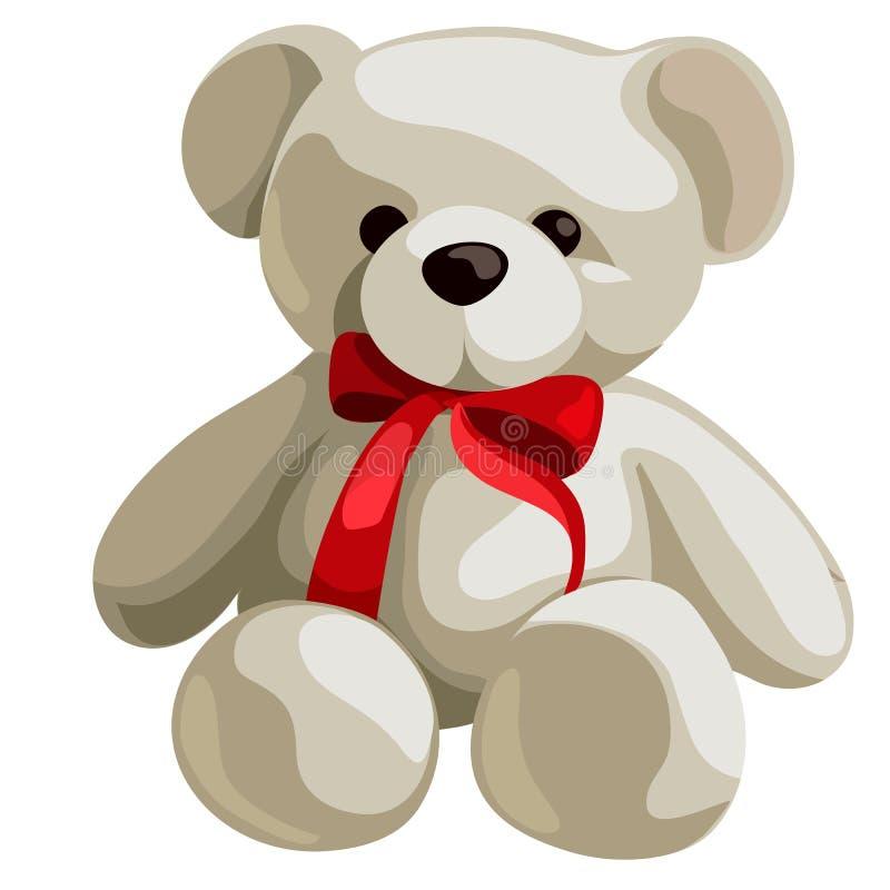 Urso de peluche macio bonito com a curva vermelha da fita isolada no fundo branco Ilustra??o do close-up dos desenhos animados do ilustração royalty free