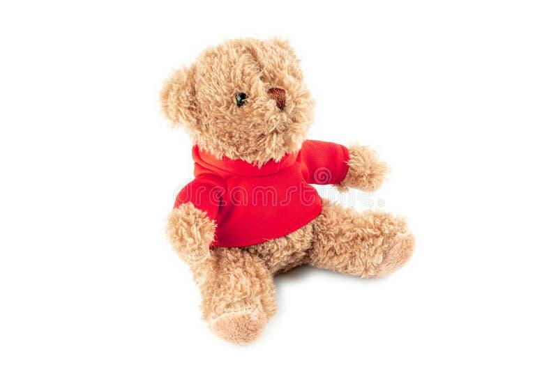 Urso de peluche marrom bonito isolado no fundo branco, trocista acima para a celebração do cartão imagens de stock