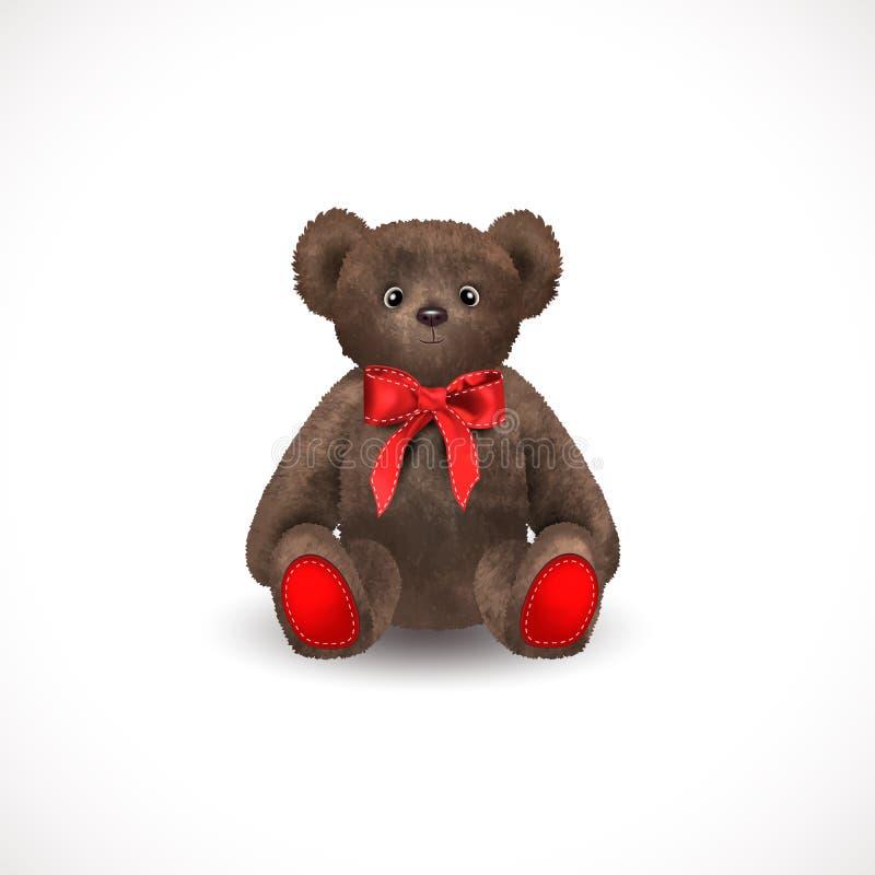 Urso de peluche marrom bonito macio de assento com uma curva vermelha Brinquedo do ` s das crianças isolado em um fundo branco Il ilustração stock