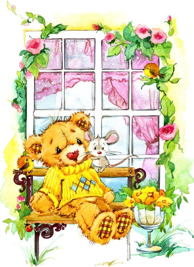 Urso de peluche na janela Ilustração da aguarela ilustração stock