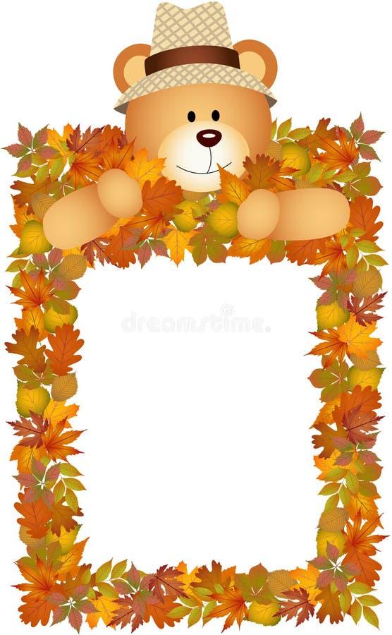 Urso de peluche no quadro das folhas de outono ilustração stock