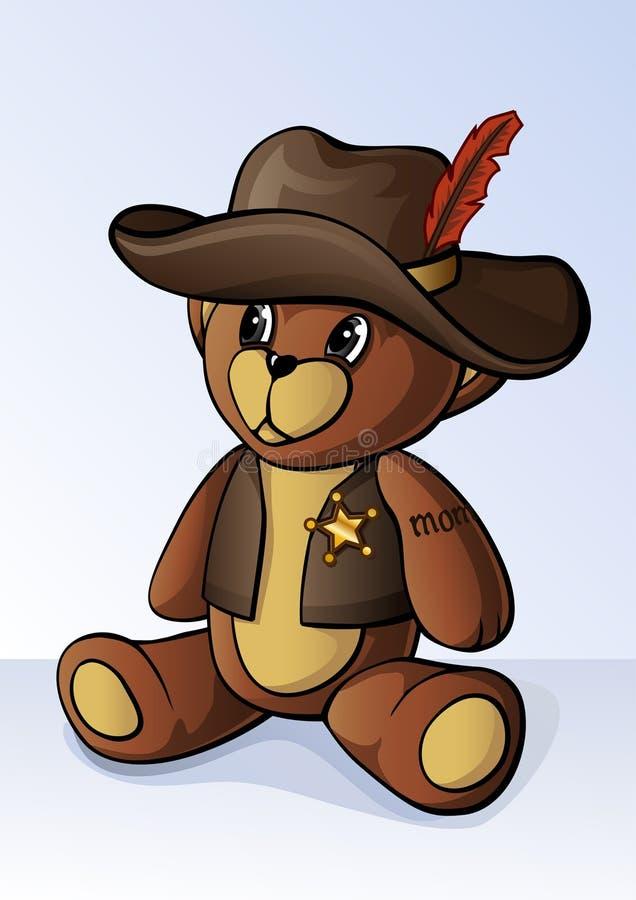 Urso de peluche pequeno bonito vestido como um xerife ilustração royalty free