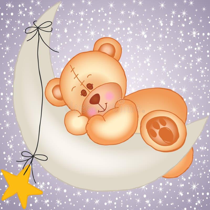 Urso de peluche que dorme em uma lua ilustração do vetor
