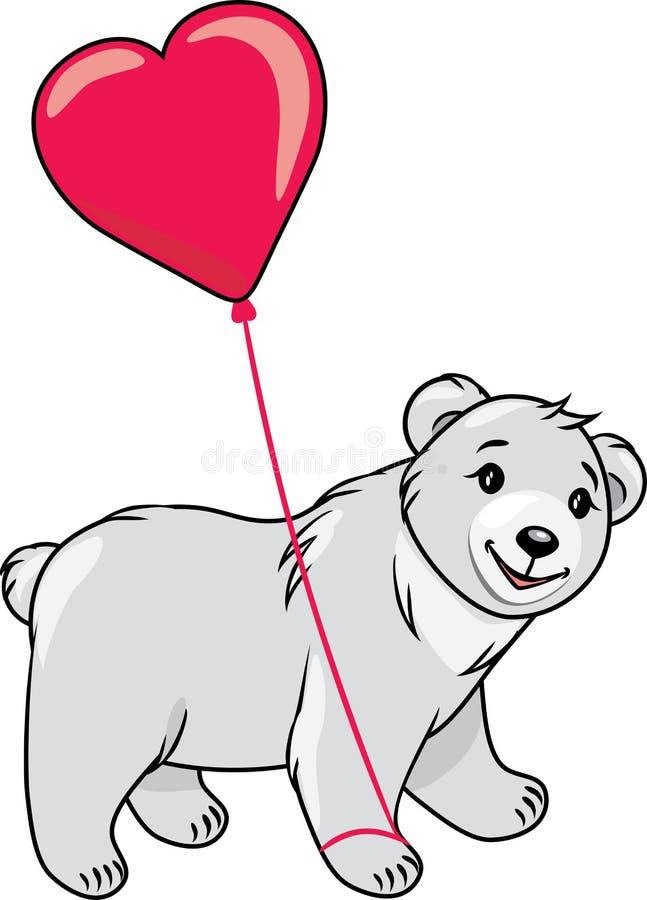 Urso de peluche que guarda um balão dado forma coração ilustração royalty free