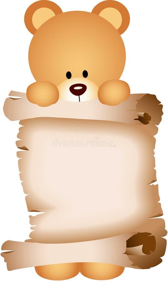 Urso de peluche que guarda um pergaminho ilustração royalty free