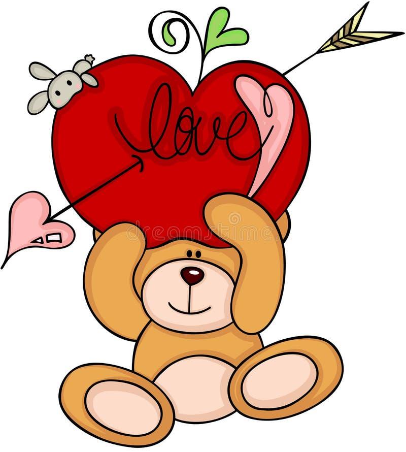 Urso de peluche que guarda uma maçã vermelha do amor do cupido ilustração royalty free
