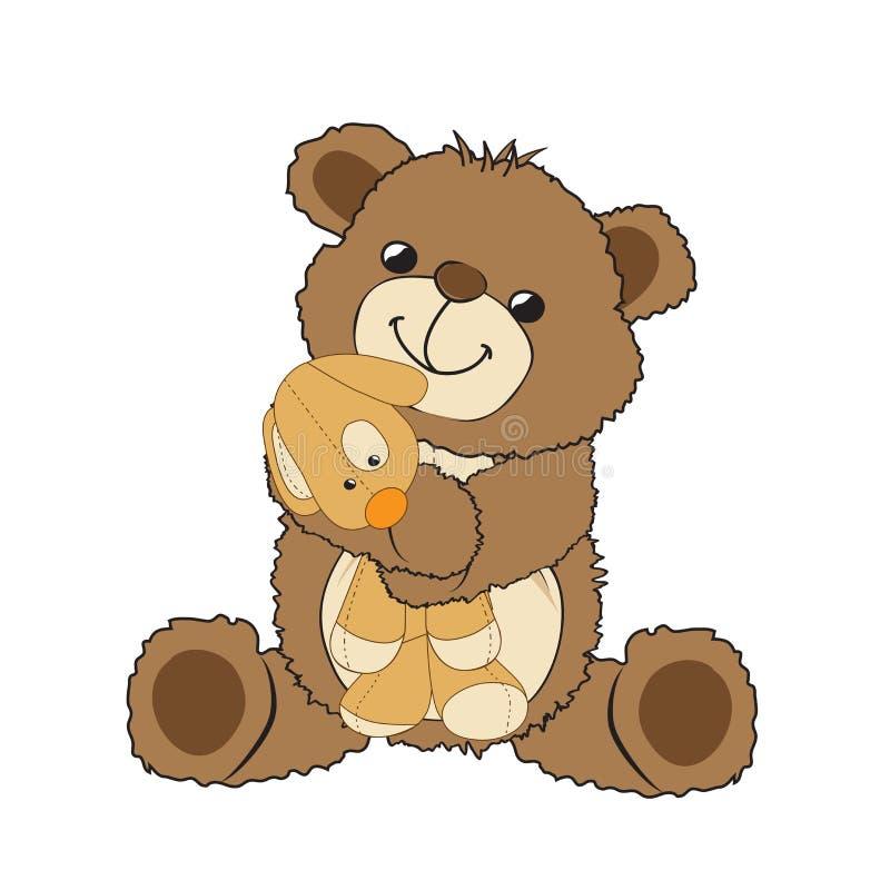 Urso de peluche que joga com seu brinquedo, um cão pequeno ilustração do vetor