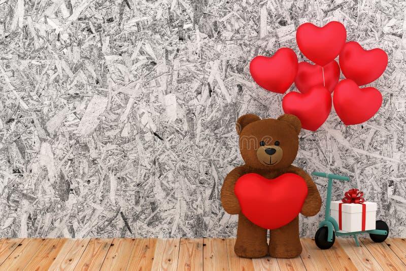 Urso de peluche que mantém o coração do balão afiado ilustração royalty free