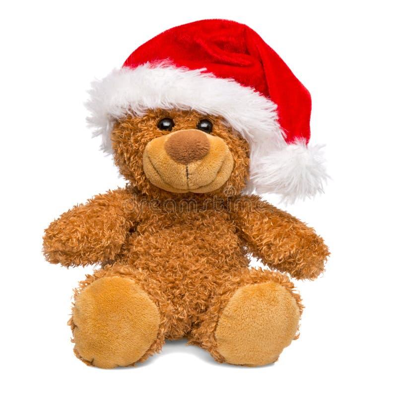 Urso de peluche de Santa Claus Christmas isolado no fundo branco imagens de stock royalty free