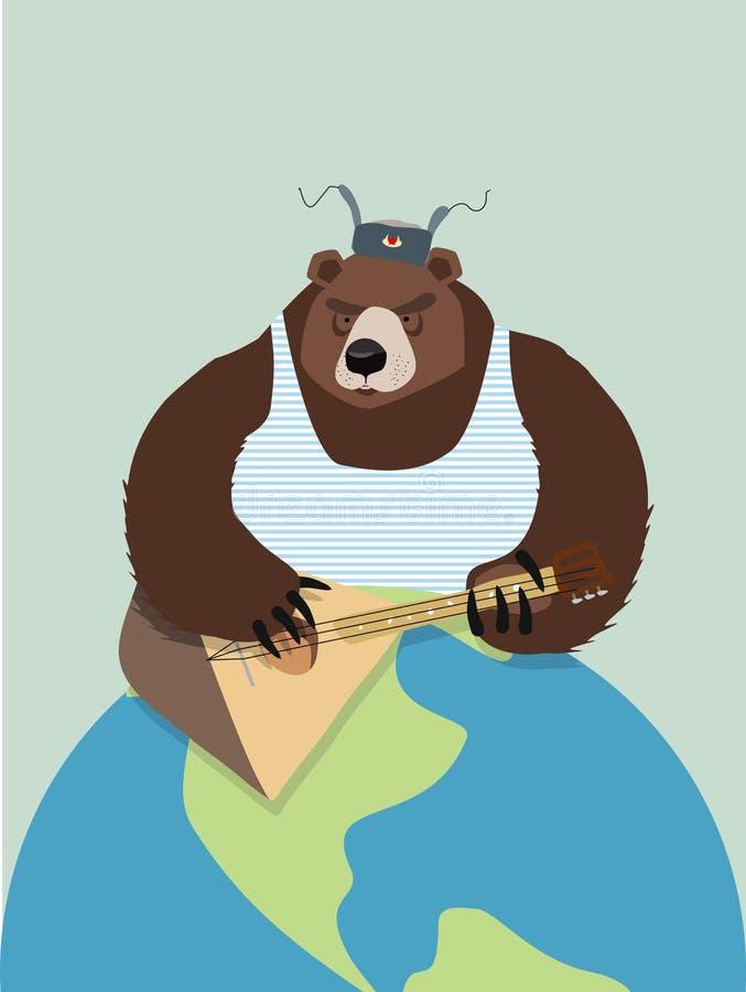 Urso de Rússia Nas aletas da orelha, jogando a balalaica Pla da terra ilustração stock