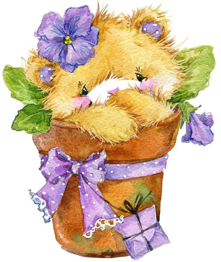 Urso de Toy Teddy e violeta da flor Ilustração da aguarela ilustração royalty free