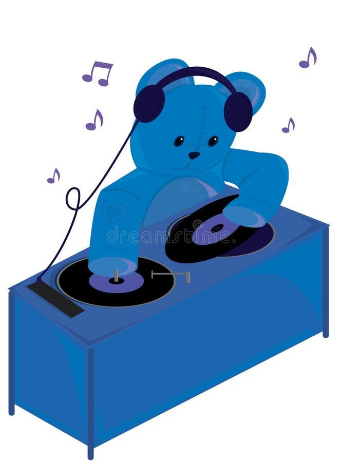 Urso DJ da peluche ilustração royalty free