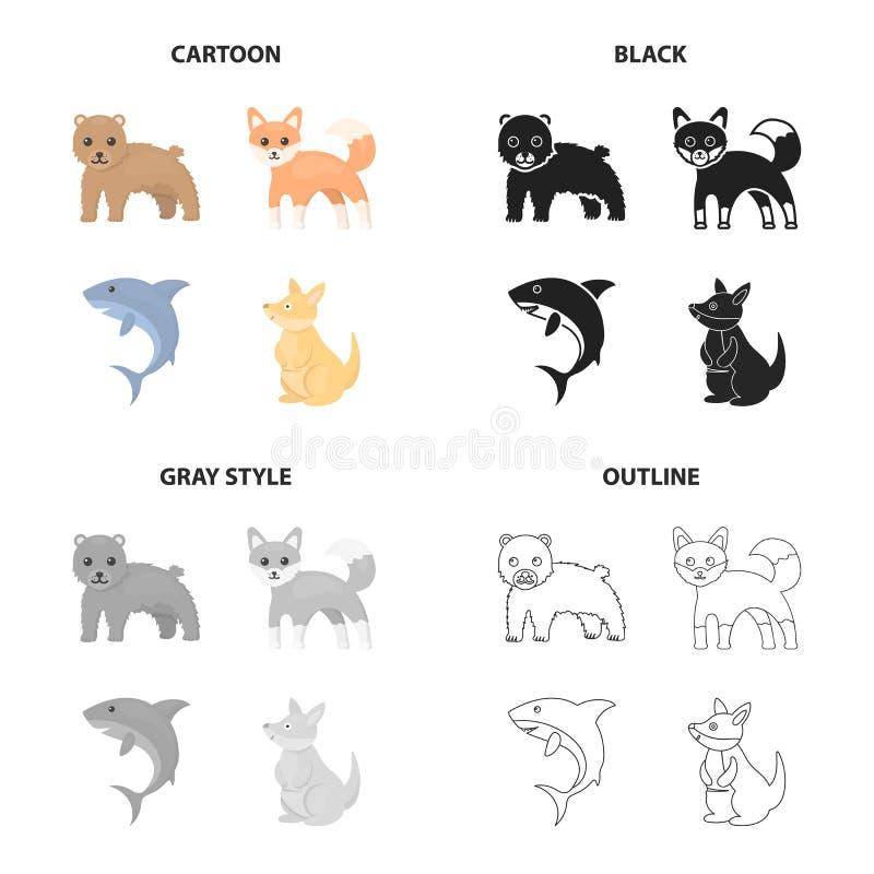 Urso do animal selvagem, tubarão faminto, canguru, raposa manhoso Os animais ajustaram ícones da coleção no esboço do monochrome  ilustração royalty free