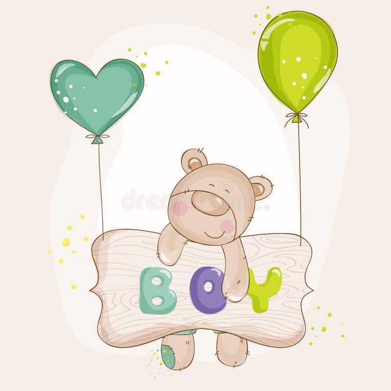 Urso do bebê com balões ilustração stock