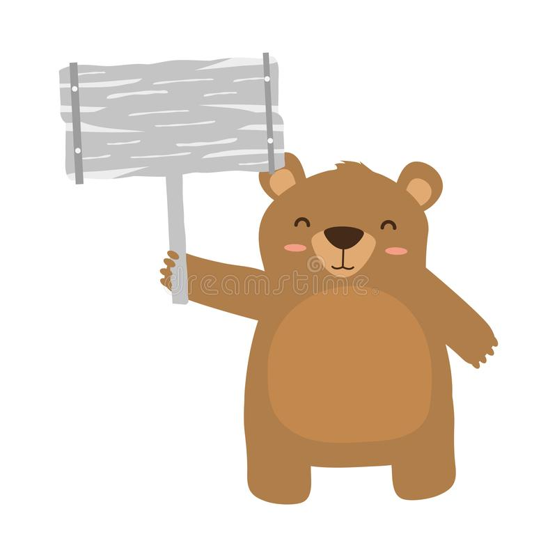 Urso do bebê com placa ilustração royalty free