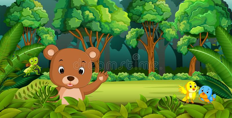 Urso do bebê na floresta ilustração do vetor