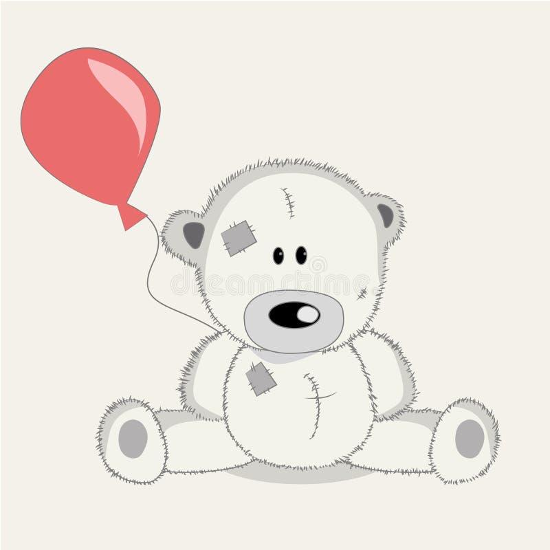 Urso do cartão com baloons ilustração stock
