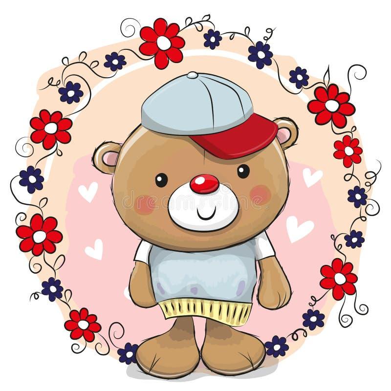 Urso do cartão com flores ilustração do vetor