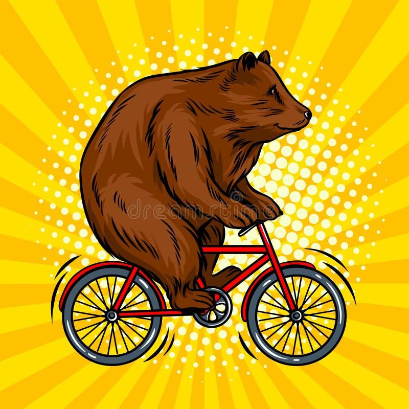 Urso do circo na ilustração do vetor do pop art da bicicleta ilustração do vetor