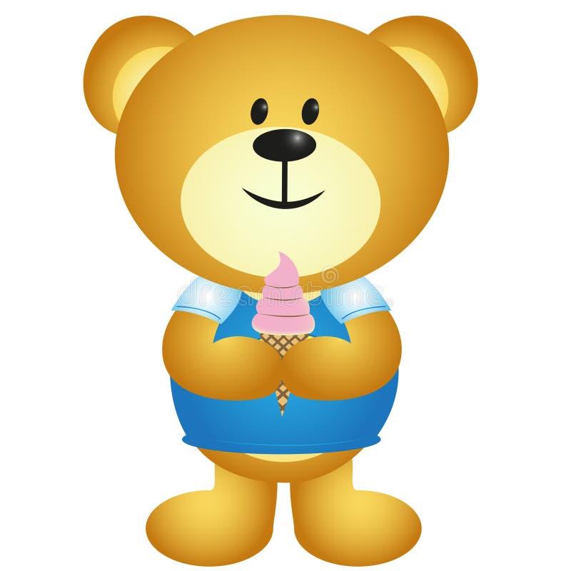 Urso do menino dos desenhos animados que come o gelado ilustração stock
