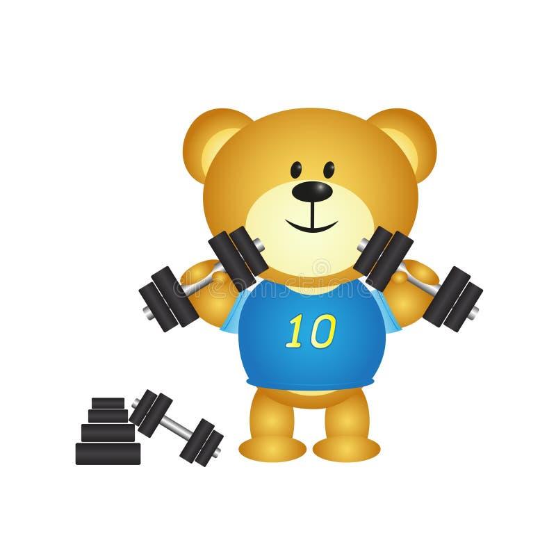 Urso do menino dos desenhos animados que joga o barbell ilustração royalty free