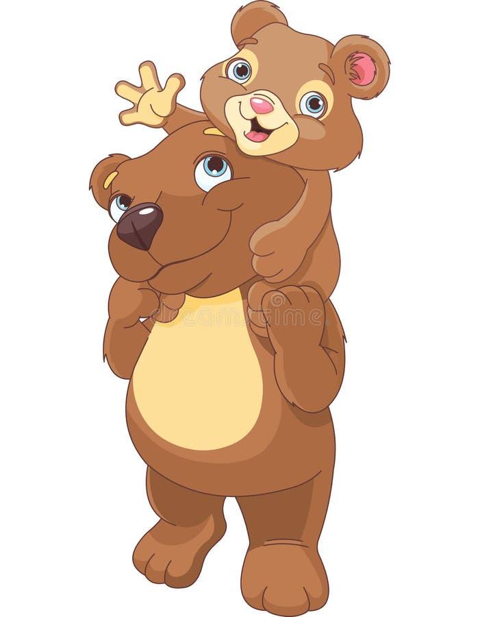 Urso do pai e do filho ilustração do vetor