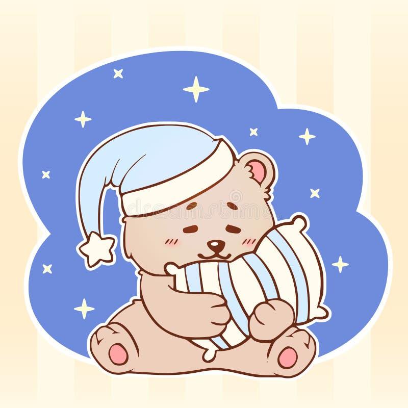 Urso do sono com o kawaii bonito Teddy Bear pequeno dos sonhos doces do descanso Bebê da boa noite ilustração stock