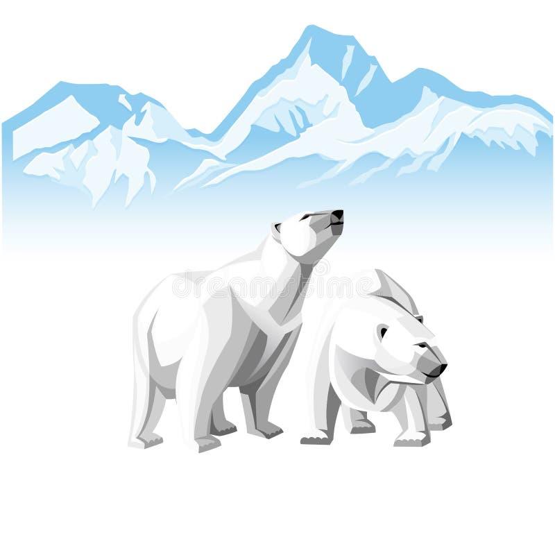 Urso dois polar branco em um fundo de iceberg ilustração royalty free