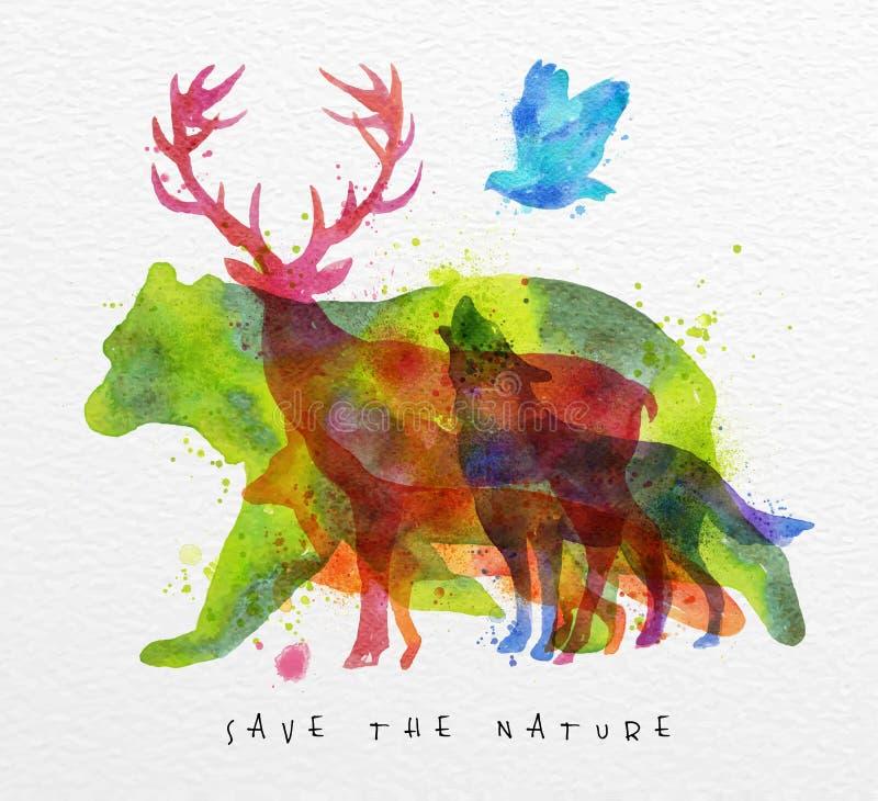 Urso dos animais do Overprint ilustração do vetor