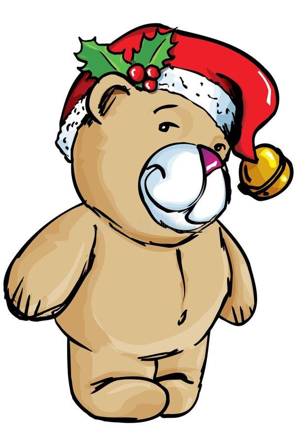 Urso dos desenhos animados com chapéu de Santa ilustração royalty free