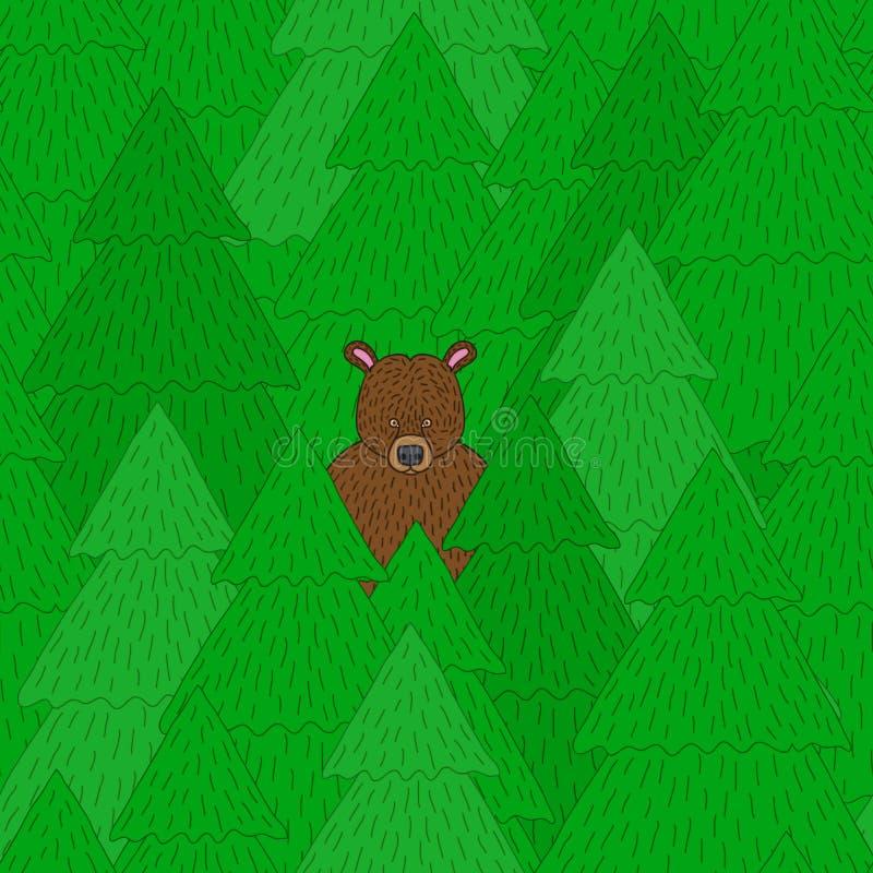 Urso dos desenhos animados no teste padrão da floresta ilustração do vetor