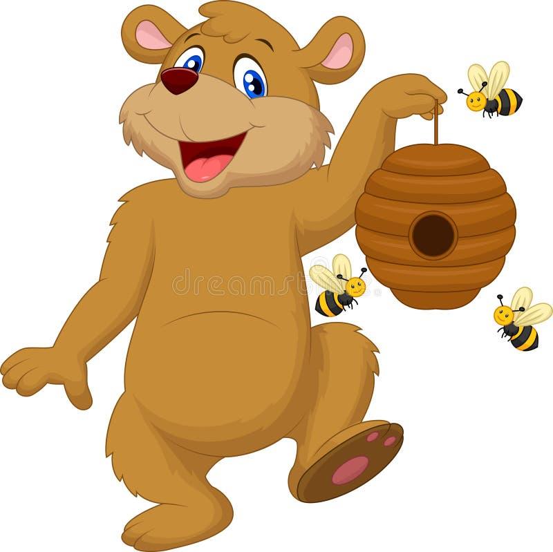 Urso dos desenhos animados que guarda a abelha ilustração royalty free