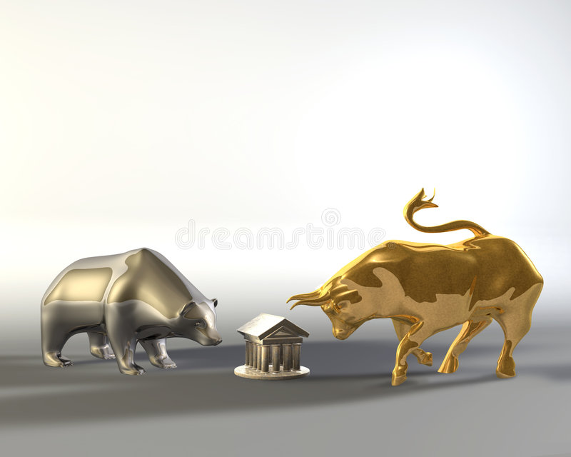 Urso dourado do touro e do metal