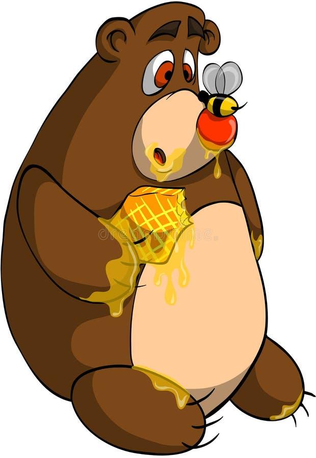 Urso e abelha ilustração do vetor