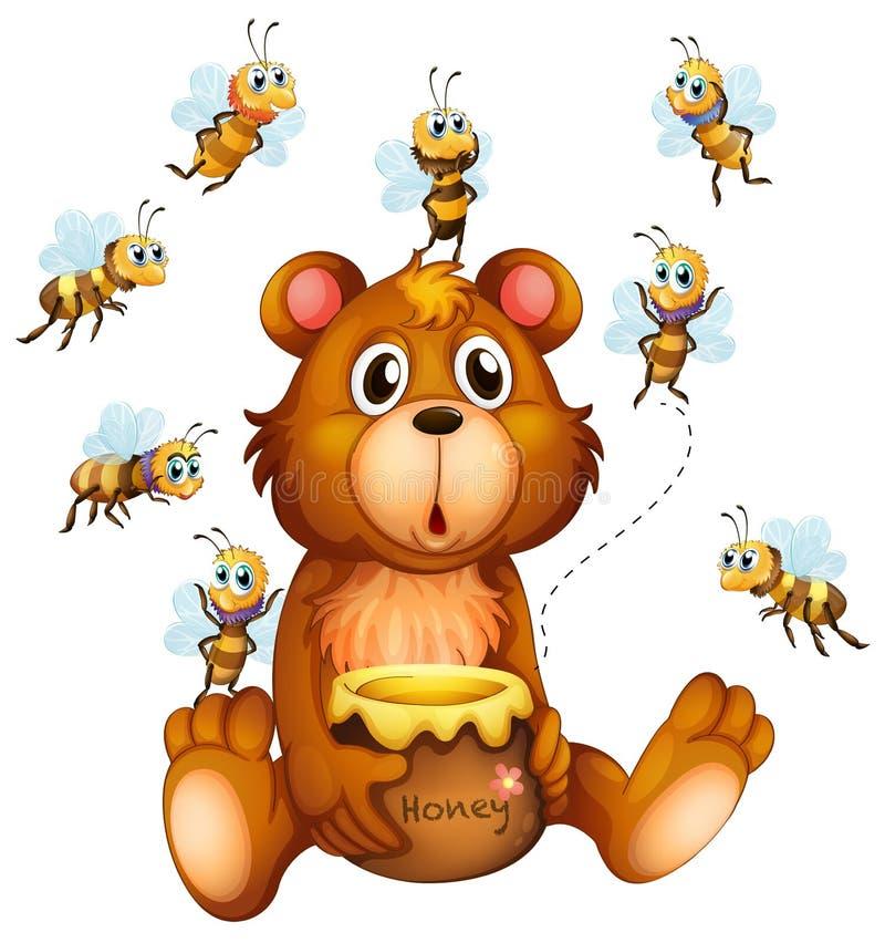Urso e abelhas ilustração do vetor