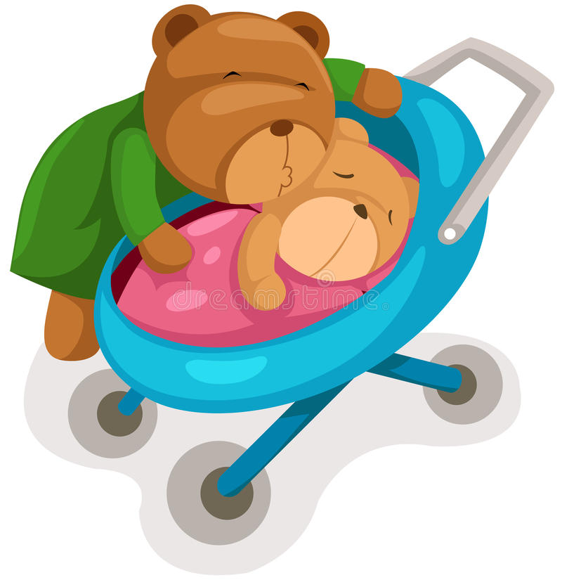 Urso e bebê da matriz no pram ilustração stock